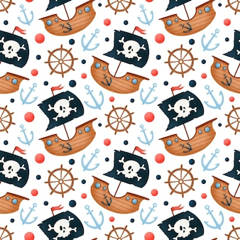 Schattige cartoon piraten schip naadloze patroon