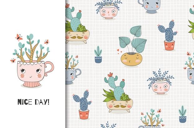 Schattige cartoon planten in de pot, illustratie en naadloze patroon set