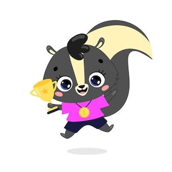 Schattige cartoon platte doodle dieren sport winnaars met gouden medaille en beker. skunk sport winnaar