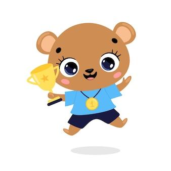 Schattige cartoon platte doodle dieren sport winnaars met gouden medaille en beker. winnaar berensport