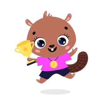 Schattige cartoon platte doodle dieren sport winnaars met gouden medaille en beker. winnaar beversport