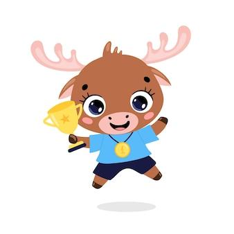 Schattige cartoon platte doodle dieren sport winnaars met gouden medaille en beker. winnaar elandensport