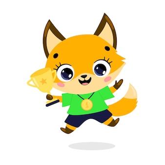 Schattige cartoon platte doodle dieren sport winnaars met gouden medaille en beker. winnaar foxsport