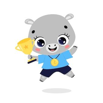 Schattige cartoon platte doodle dieren sport winnaars met gouden medaille en beker. winnaar hippo sport