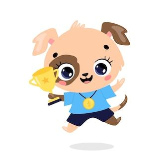 Schattige cartoon platte doodle dieren sport winnaars met gouden medaille en beker. winnaar hondensport
