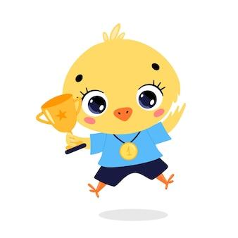 Schattige cartoon platte doodle dieren sport winnaars met gouden medaille en beker. winnaar kippensport