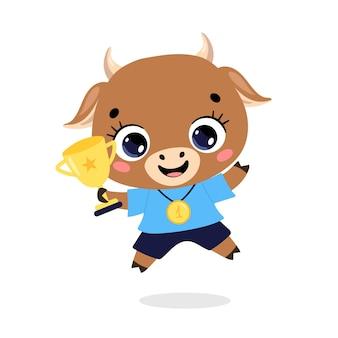 Schattige cartoon platte doodle dieren sport winnaars met gouden medaille en beker. winnaar koe stierensport