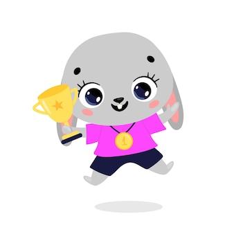 Schattige cartoon platte doodle dieren sport winnaars met gouden medaille en beker. winnaar konijnensport