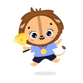 Schattige cartoon platte doodle dieren sport winnaars met gouden medaille en beker. winnaar leeuwensport