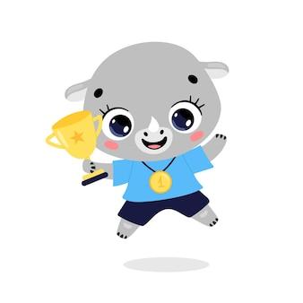 Schattige cartoon platte doodle dieren sport winnaars met gouden medaille en beker. winnaar neushoornsport