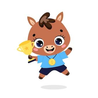 Schattige cartoon platte doodle dieren sport winnaars met gouden medaille en beker. winnaar paarden ponysport