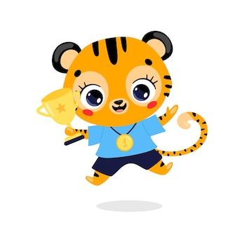 Schattige cartoon platte doodle dieren sport winnaars met gouden medaille en beker. winnaar tijgersport
