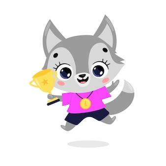 Schattige cartoon platte doodle dieren sport winnaars met gouden medaille en beker. winnaar van de wolfhondensport