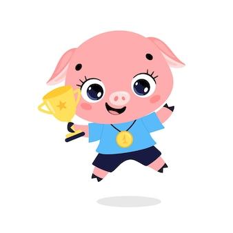 Schattige cartoon platte doodle dieren sport winnaars met gouden medaille en beker. winnaar varkenssport