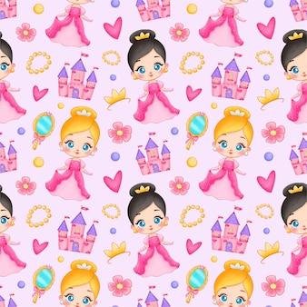 Schattige cartoon prinses naadloze patroon