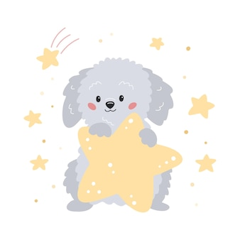 Schattige cartoon puppy met ster hand getekende labradoodle hond