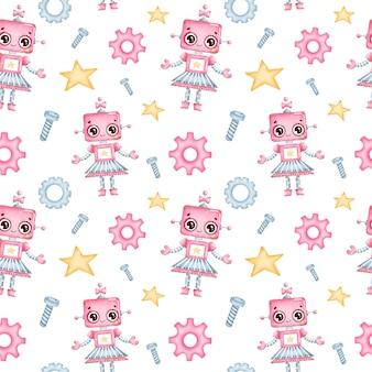 Schattige cartoon robot meisje naadloze patroon
