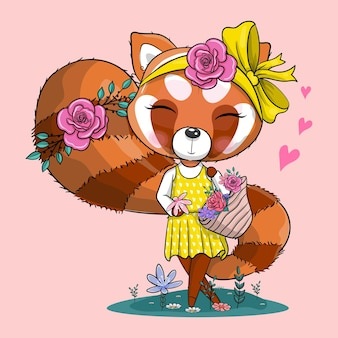 Schattige cartoon rode panda met bandana en bloemen vectorillustratie