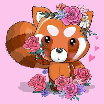 Schattige cartoon rode panda met bloemen vectorillustratie