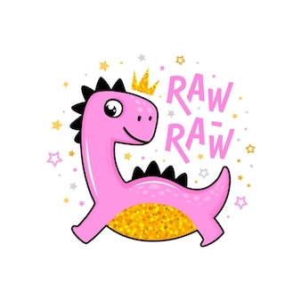 Schattige cartoon roze en goudkleurige dino kid prinses karakter met kroon die raw raw zegt