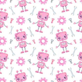 Schattige cartoon roze robot naadloze patroon