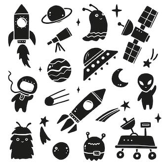 Schattige cartoon ruimteset, raket, astronaut, planeet, ufo, alien. hand getekende zwarte silhouetstijl.