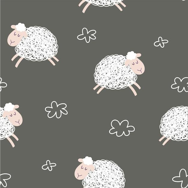Schattige cartoon schapen naadloze patroon achtergrond schapen en wolken op een bruine achtergrond