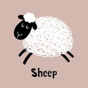 Schattige cartoon schapen vector kinder illustratie geïsoleerd op een beige background