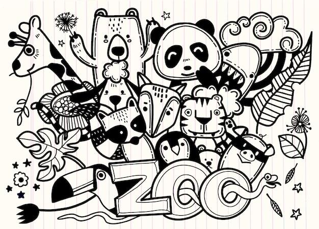 Schattige cartoon schets dieren voor t-shirt afdrukken