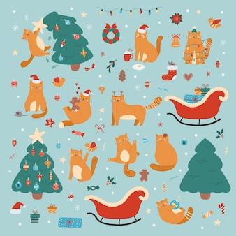 Schattige cartoon set met katten, kerstboom, cadeautjes en decoraties