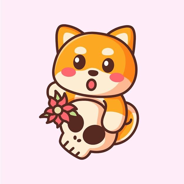 Schattige cartoon shiba inu-hond met schattige schedel in de hand