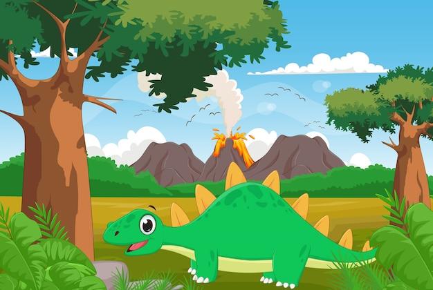 Schattige cartoon stegosaurus met vulkaan achtergrond Premium Vector