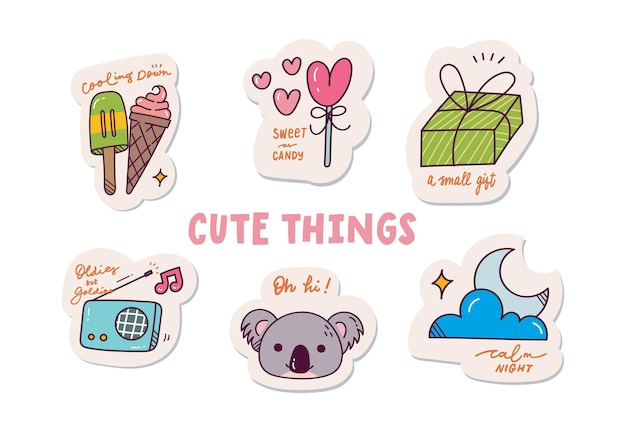 Schattige cartoon sticker set