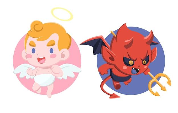 Schattige cartoon stijl kleine duivel en engel op witte achtergrond afbeelding