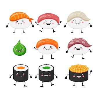 Schattige cartoon sushi set tekens. kawaii sushi. illustratie geïsoleerd op een witte achtergrond.