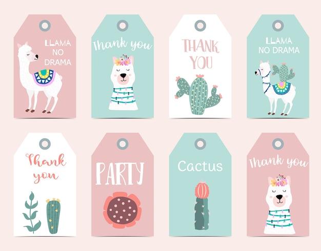 Schattige cartoon-tag met lama, alpaca, cactus met dank u, lama geen drama formulering