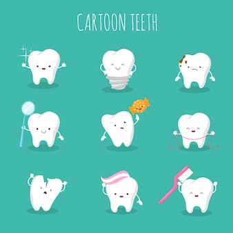 Schattige cartoon tand vector set. babytanden gezondheid en hygiëne pictogrammen