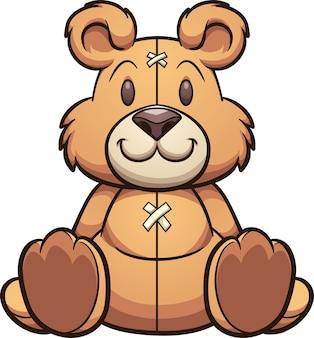 Schattige cartoon teddy zit vooraanzicht