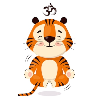 Schattige cartoon tijger die yoga doet zweeft terwijl hij in lotus positi zit symbool van 2022 jaar van de tijger