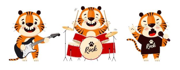 Schattige cartoon tijger spelen in rockband symbool van 2022 jaar van de tijger