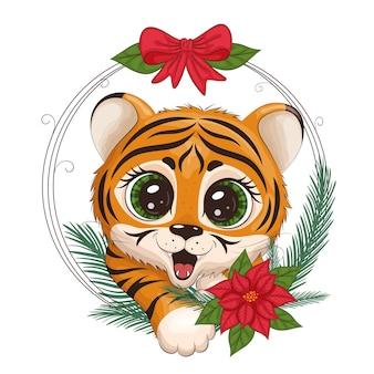 Schattige cartoon tijgerwelp, met een ronde frame van kerstmis, op een witte achtergrond. afdrukken voor kleding, servies, textiel. nieuwjaarskaart 2022. vectorillustratie eps10.
