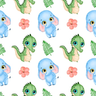 Schattige cartoon tropische dieren naadloze patroon. naadloze patroon van krokodil, olifant, palmbladeren en hibiscus bloemen.