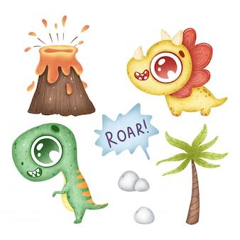 Schattige cartoon tropische dinosaurussen ingesteld op een witte achtergrond