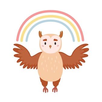 Schattige cartoon uil en regenboog illustratie voor kinderkamer decor baby kids poster briefkaart