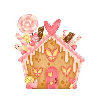 Schattige cartoon valentijnsdag peperkoek huis geïsoleerd op een witte achtergrond