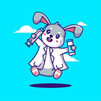 Schattige cartoon vector illustraties bunny doctor holding vaccin apparatuur. geneeskunde en vaccinatie pictogram concept