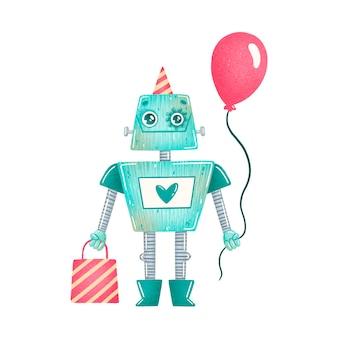 Schattige cartoon verjaardag partij groene robot geïsoleerd