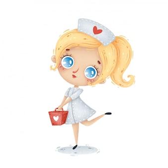 Schattige cartoon verpleegster met blond haar in een witte jas met een rode koffer
