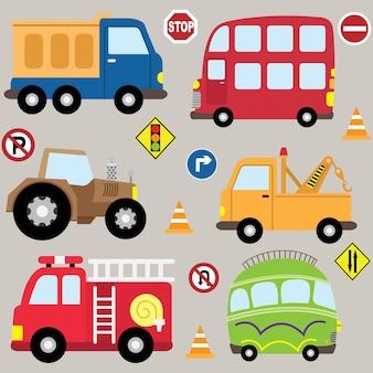 Schattige cartoon voertuigen transportset