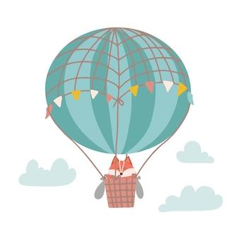 Schattige cartoon vos op een hete luchtballon in de lucht hildrens illustratie in de kinderkamer vector platte ha...